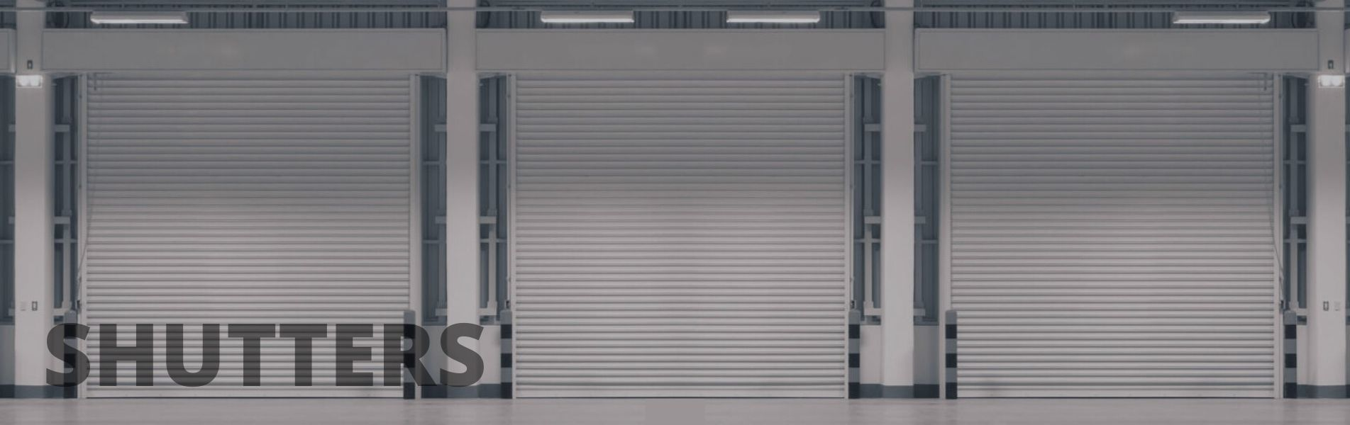 3 closed industrial shutters