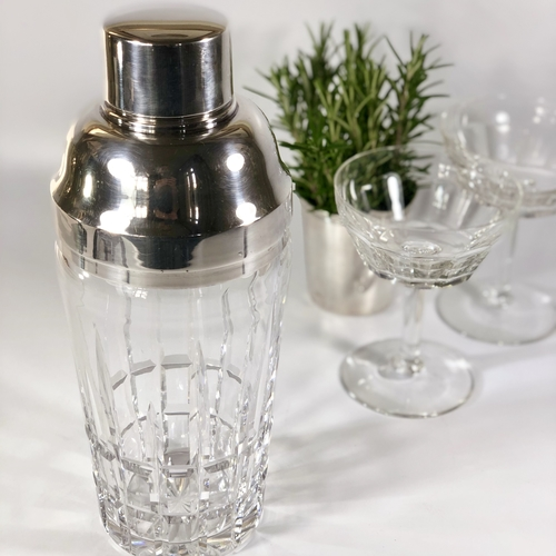Large Val Saint Lambert heavy crystal cocktail shaker