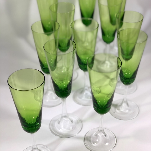 12 Murano hollow stem champagne flutes