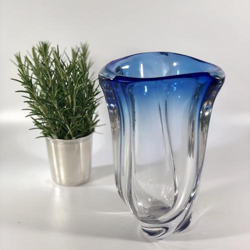 Blue fade Val Saint Lambert crystal vase