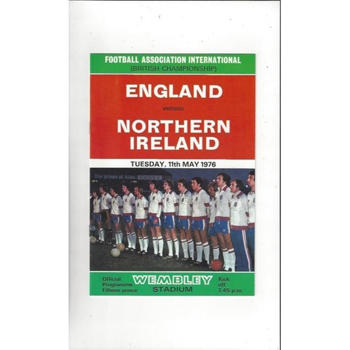 1976 England v Northern Ireland Football Programme
