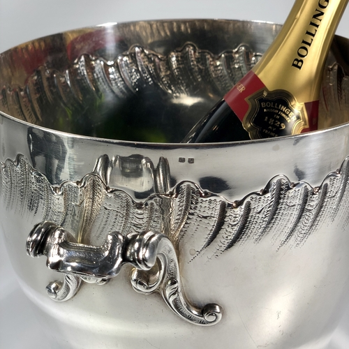 Rare large French silver plated wine bucket cooler