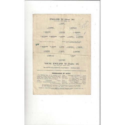 1954/55 England v Young England Football Programme @ Arsenal