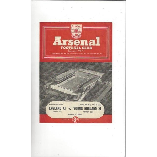 1954/55 England v Young England Football Programme @ Arsenal
