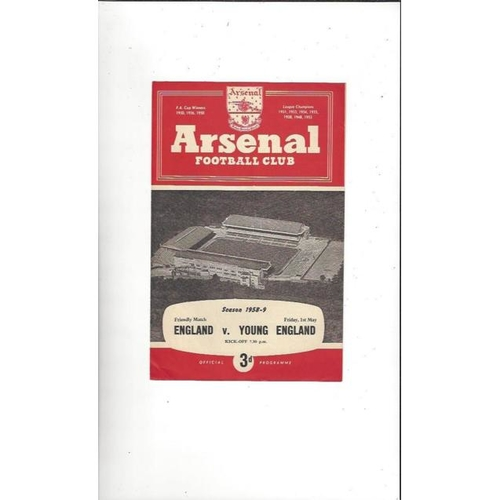 1958/59 England v Young England Football Programme@ Arsenal