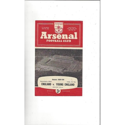 1959/60 England v Young England Football Programme @ Arsenal