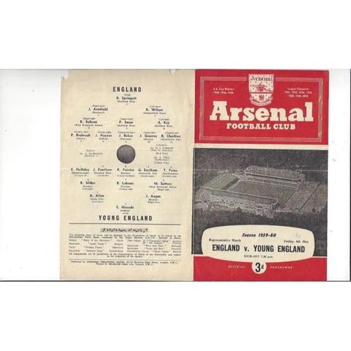 1959/60 England v Young England Football Programme @ Arsenal