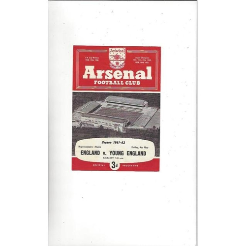 1961/62 England v Young England Football Programme @ Arsenal
