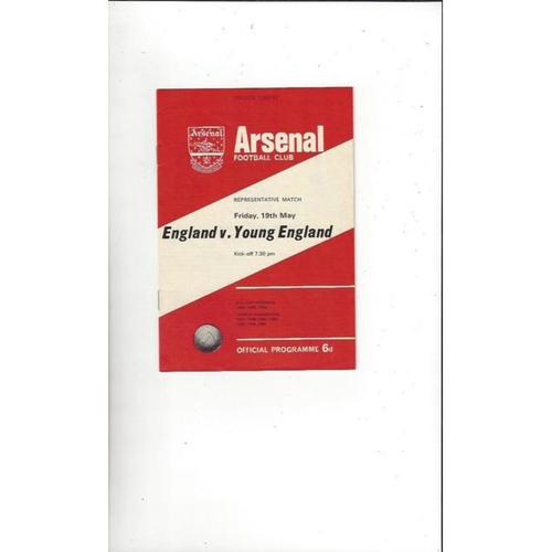 1966/67 England v Young England Football Programme @ Arsenal