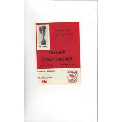 1967/68 England v Young England Football Programme @ Arsenal
