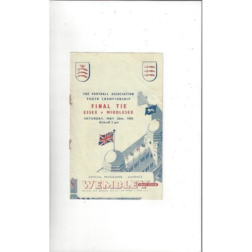 1950 Essex v Middlesex Youth Championship Cup Final Football Programme