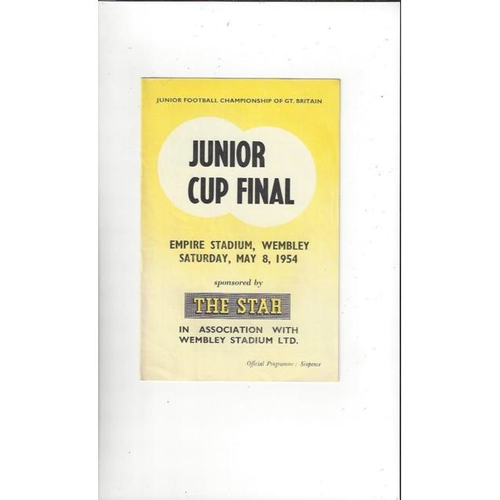 1954 Air Training Corps v Boys Clubs Junior Championship Cup Final Football Programme