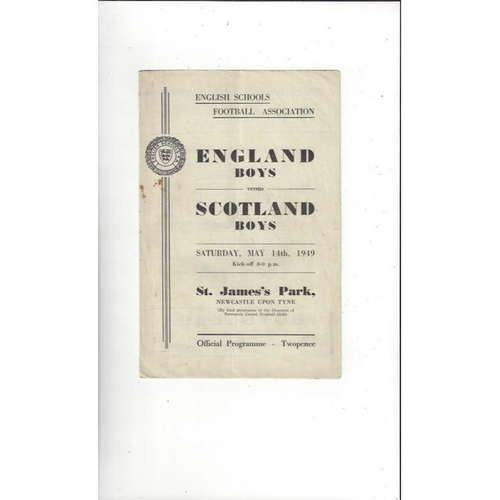 1949 England v Scotland Schools International Football Programme @ Newcastle