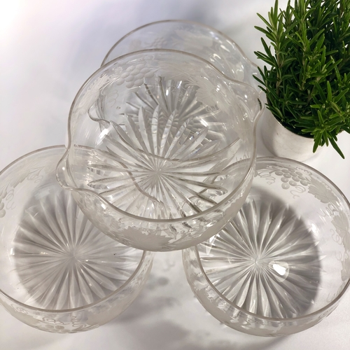 Set of Vine etched Victorian wine Rinsers