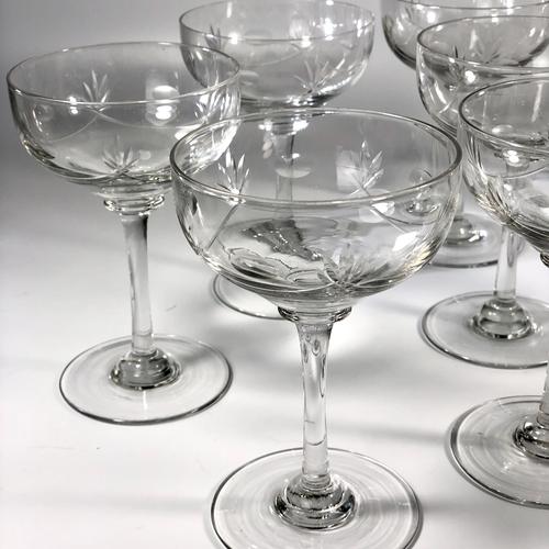 8 Edwardian swag cut glass tall stem champagne saucers