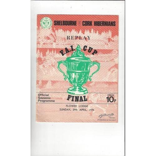 1973 Shelbourne v Cork Hibernians FAI Cup Final Replay Football Programme