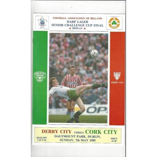1989 Derry City v Cork City FAI Cup Final Replay Football Programme