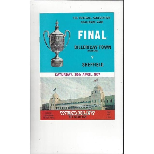 1977 Billericay Town v Sheffield FC FA Vase Final Football Programme
