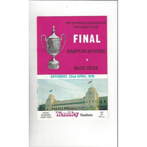 1978 Barton Rovers v Blue Star FA Vase Final Football Programme