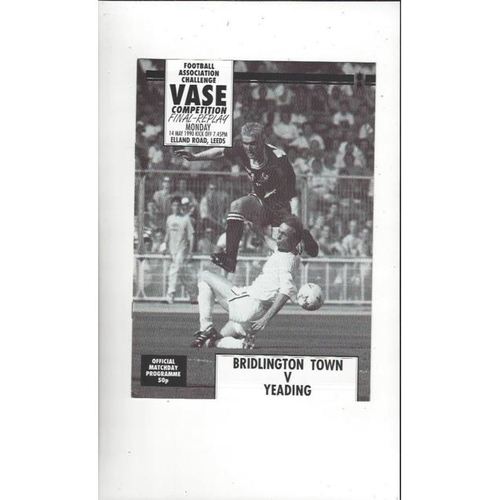 1990 Bridlington Town v Yeading FA Vase Final Replay Football Programme