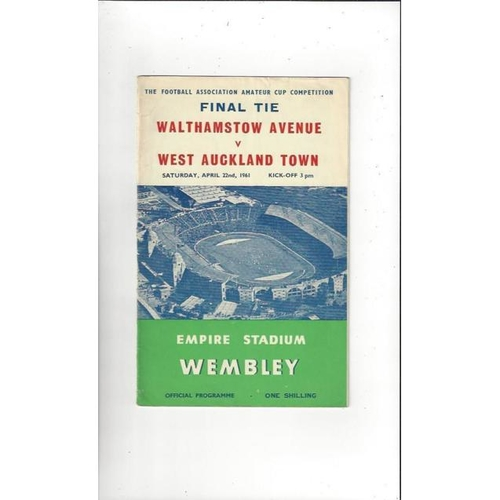 1961 Walthamstow Avenue v West Auckland Town Amateur Cup Final Football Programme