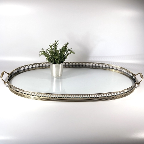 Giant oval French glass and brass serving tray