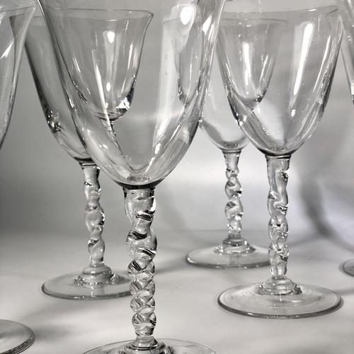 10 twisted glass tall stem wine glasses