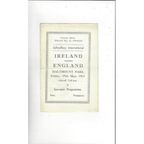 1962 Ireland v England Schools International Football Programme