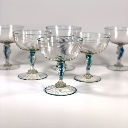 Set of vintage Venetian Murano champagne saucers