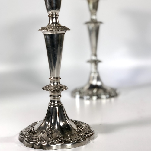 Pair of early Old Sheffield Plated candlesticks
