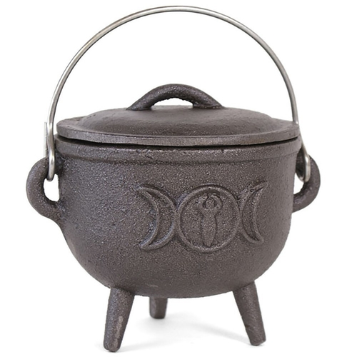 Cast Iron Cauldron With Triple Moon (11cm)