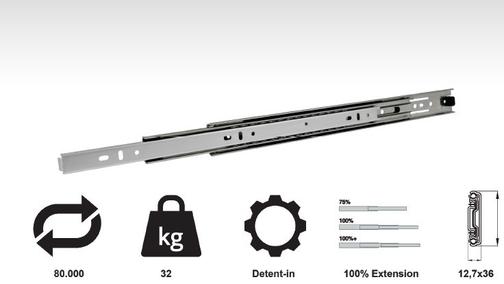 Model 3612 (32 Kg Medium Duty Full Extension Slides)