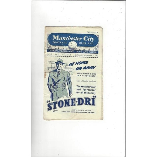 1953/54 Manchester City v Newcastle United Football Programme