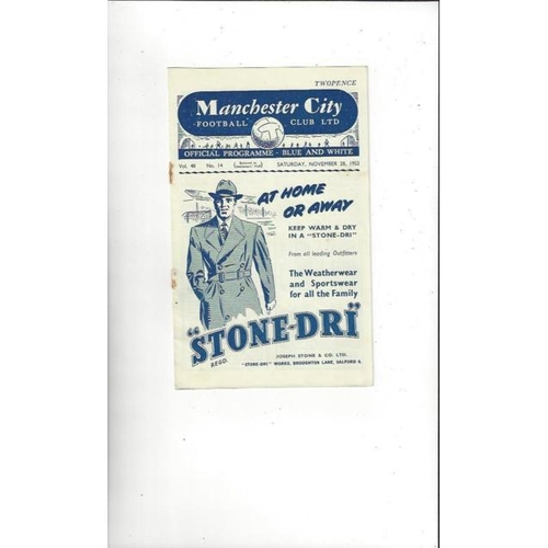 1953/54 Manchester City v West Bromwich Albion Football Programme