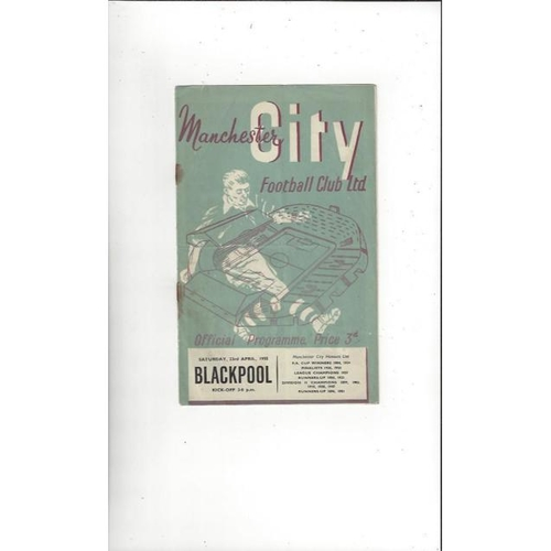 1954/55 Manchester City v Blackpool Football Programme