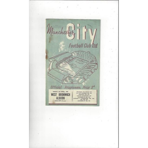 1954/55 Manchester City v West Bromwich Albion Football Programme