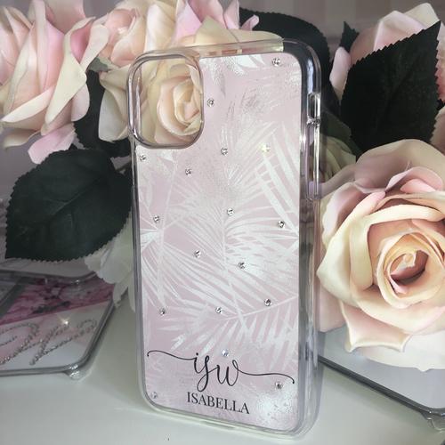 Swarovski Phone Case Pink & Silver Satin