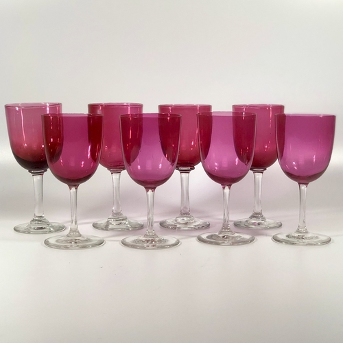 Set of Victorian ruby pink drinking glasses