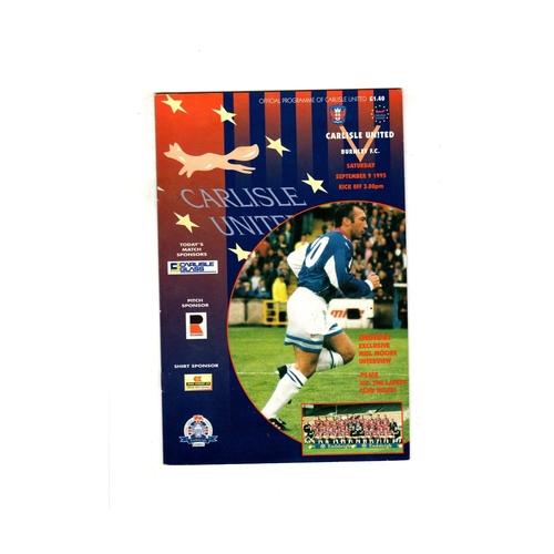 1995/96 Carlisle United v Burnley Football Programme