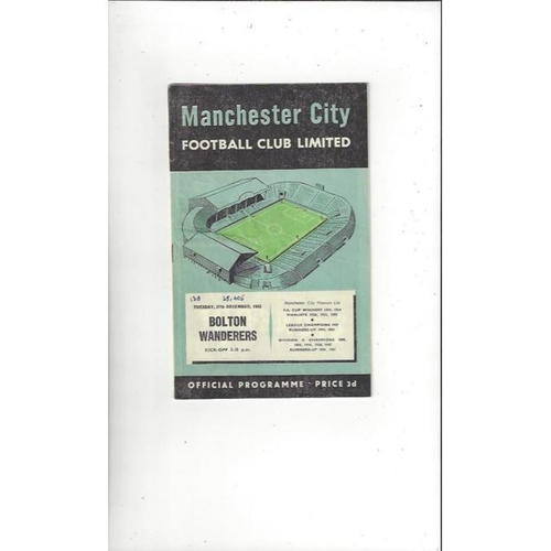 1955/56 Manchester City v Bolton Wanderers Football Programme