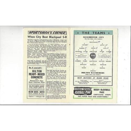 1955/56 Manchester City v Bolton Wanderers Football Programme