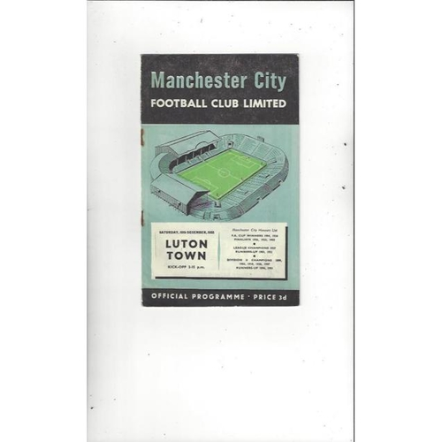 1955/56 Manchester City v Luton Town Football Programme