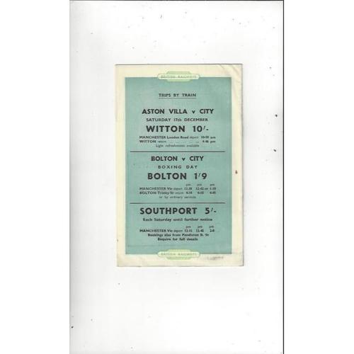 1955/56 Manchester City v Luton Town Football Programme