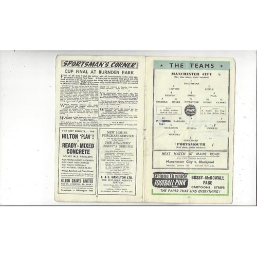 1955/56 Manchester City v Portsmouth Football Programme