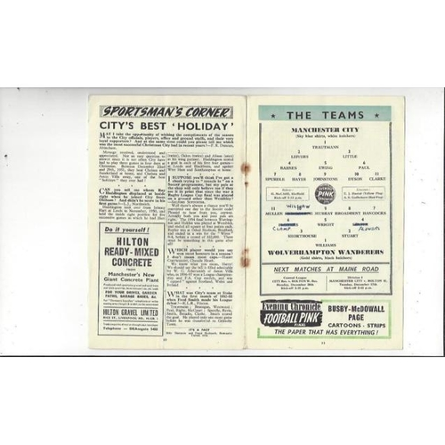 1955/56 Manchester City v Wolves Football Programme