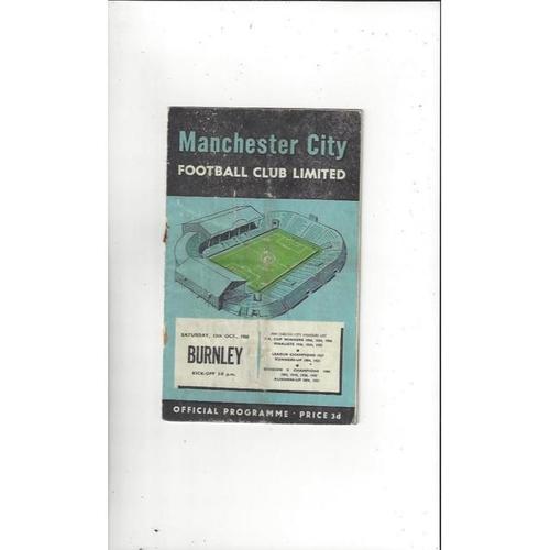1956/57 Manchester City v Burnley Football Programme
