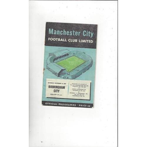 1956/57 Manchester City v Birmingham City Football Programme