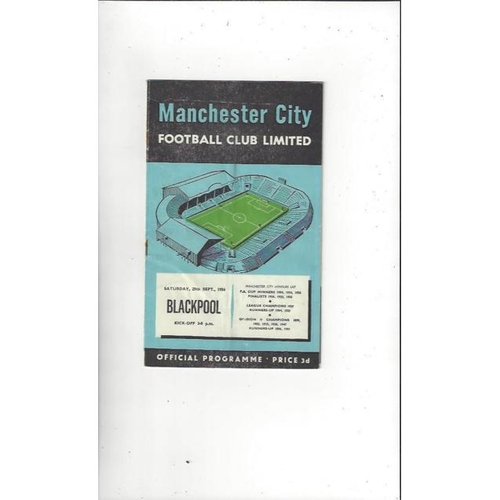 1956/57 Manchester City v Blackpool Football Programme