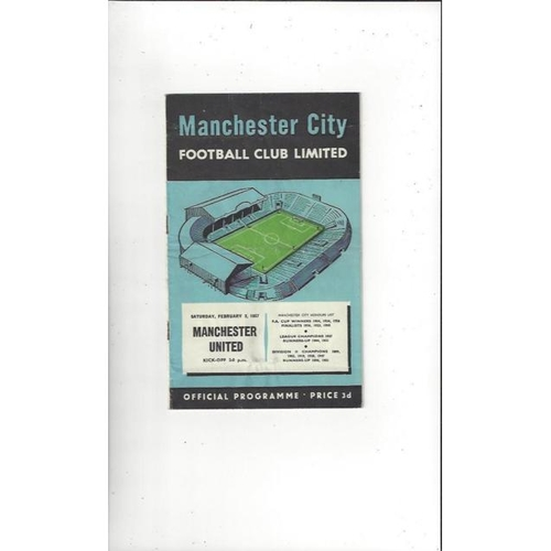 1956/57 Manchester City v Manchester United Football Programme