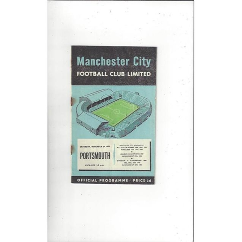 1956/57 Manchester City v Portsmouth Football Programme
